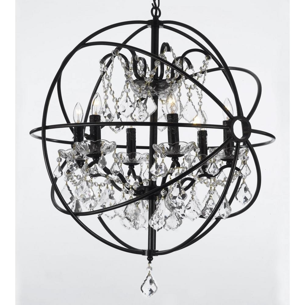 Contemporary 6 Light Orb Iron And Crystal Black Chandelier T1 1005 With Best And Newest Contemporary Black Chandelier (View 6 of 20)