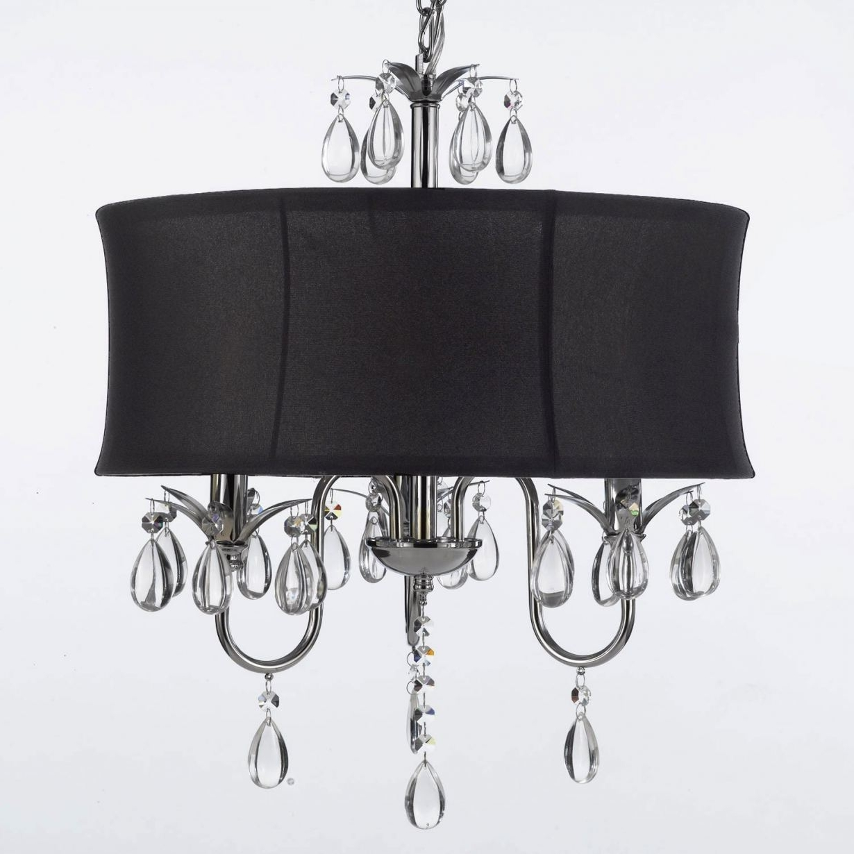 Contemporary Black Chandelier With Well Known Black Crystal Chandelier Lighting #3 Modern Contemporary Black Drum (View 11 of 20)