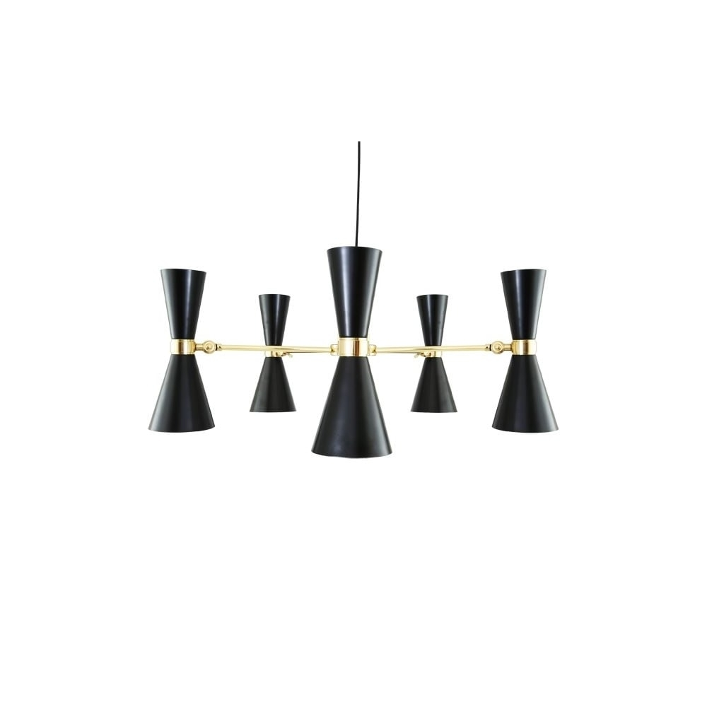 Contemporary Polished Brass Black Chandelier – Lighting And Lights Uk Inside Newest Black Contemporary Chandelier (View 16 of 20)