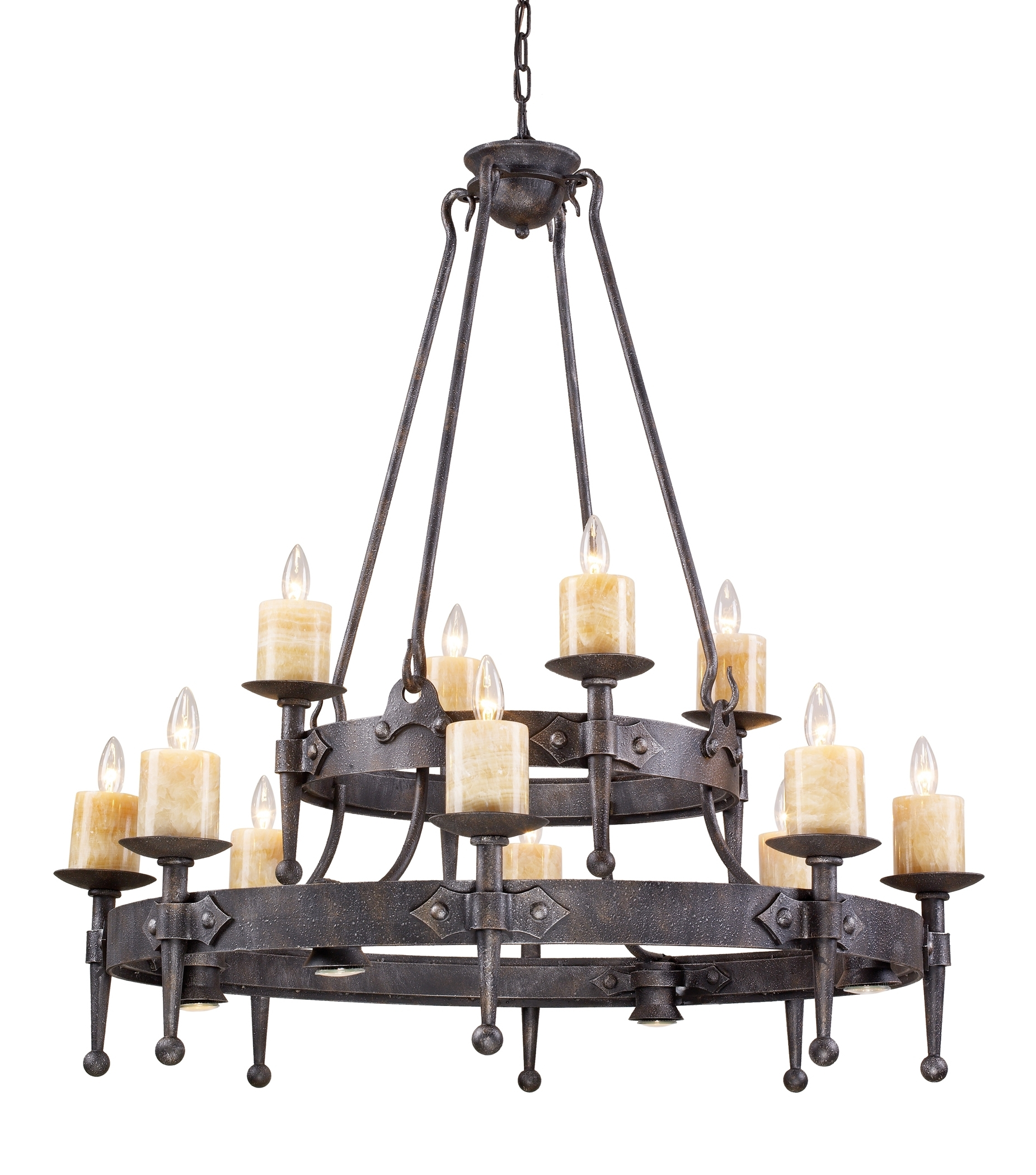 Contemporary Rustic Wrought Iron Chandelier Throughout Wooden With Regard To Latest Modern Wrought Iron Chandeliers (View 9 of 20)