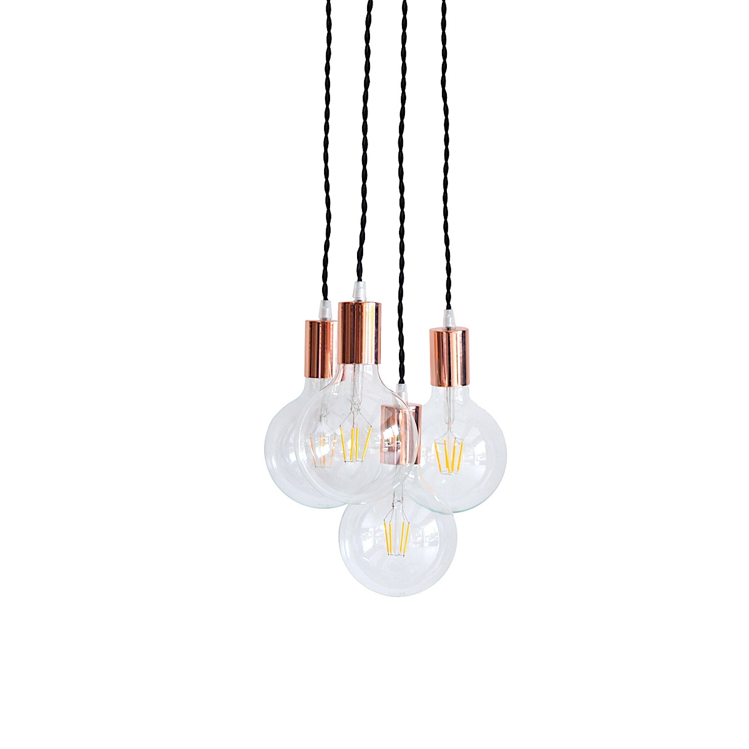 Copper Chandelier Light Cluster Rose Gold Pendant Lighting Swag In Preferred Gold Modern Chandelier (View 3 of 20)