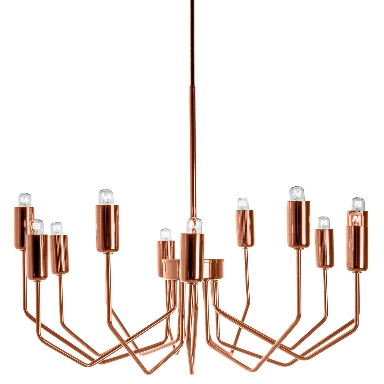 Copper Chandelier Pertaining To Trendy Sleek And Stylish, The Olbia Chandelier In Copper Features Delicate (View 4 of 20)