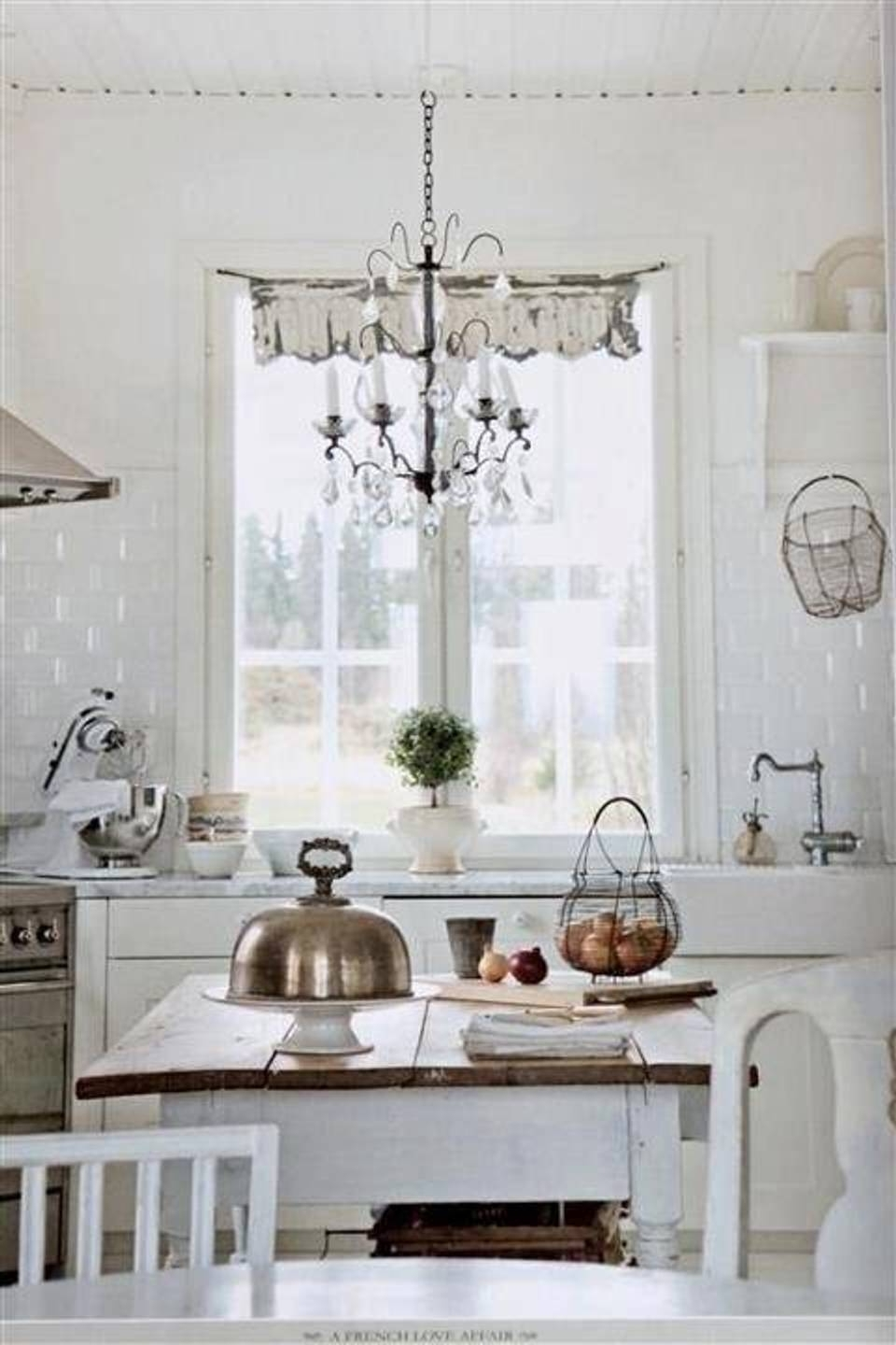 Country Chic Chandelier Intended For Recent Shabby Chic White Kitchen With Chandelier Lighting Fixtures (View 8 of 20)