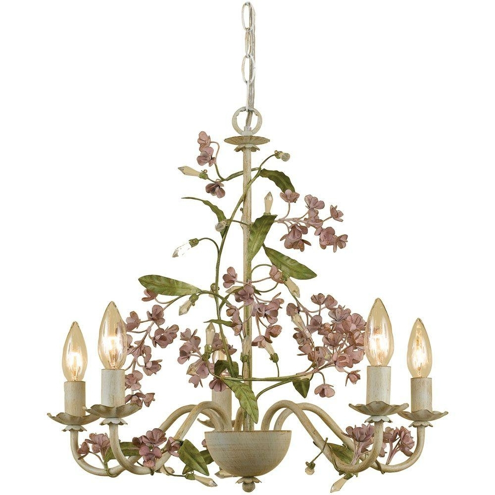 Cream Chandelier Lights For 2019 Af Lighting Grace 5 Light Antique Cream Chandelier With Floral (View 2 of 20)