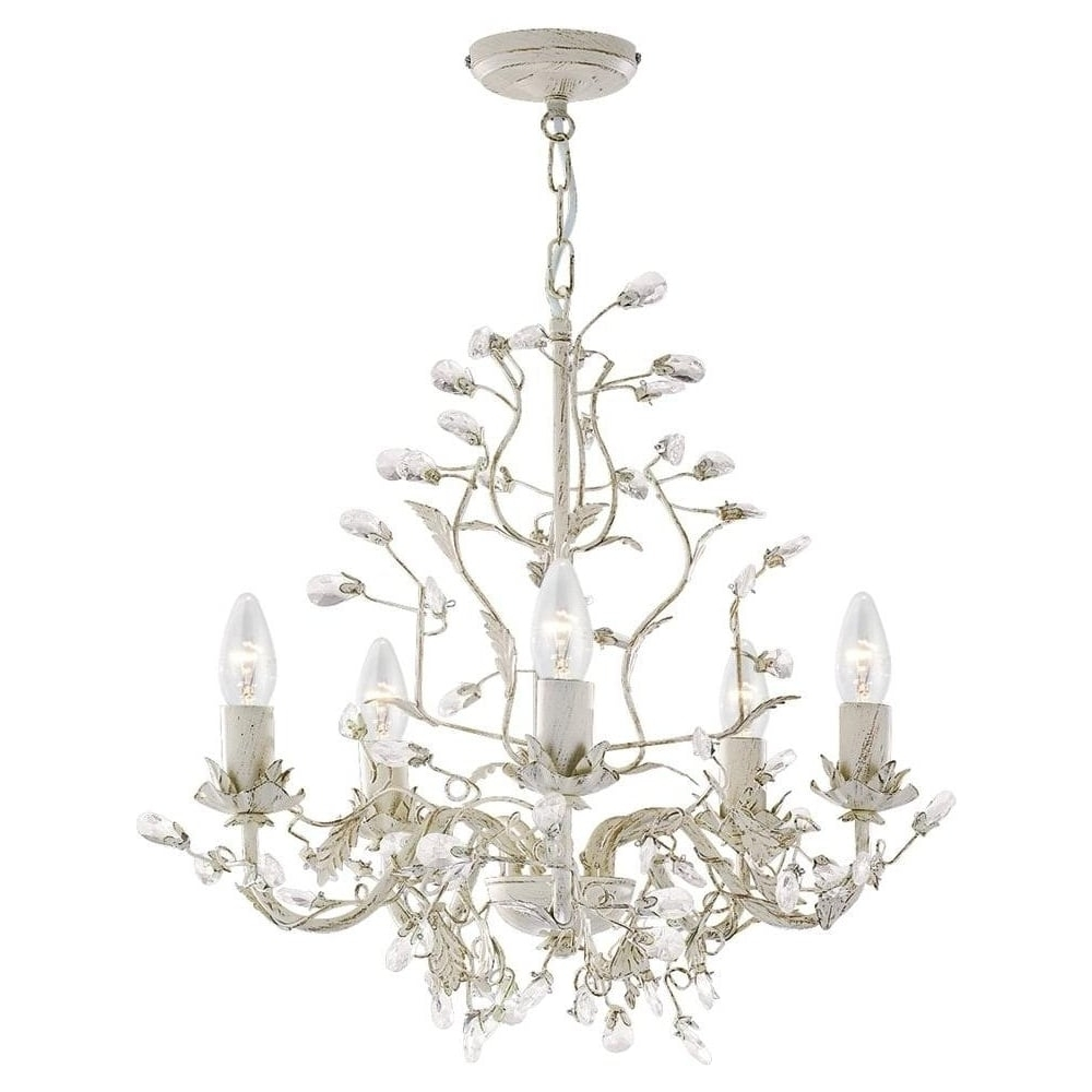 Cream Gold Chandelier Intended For Famous Searchlight 2495 5cr Almandite 5 Light Cream & Gold Chandelier (View 6 of 20)