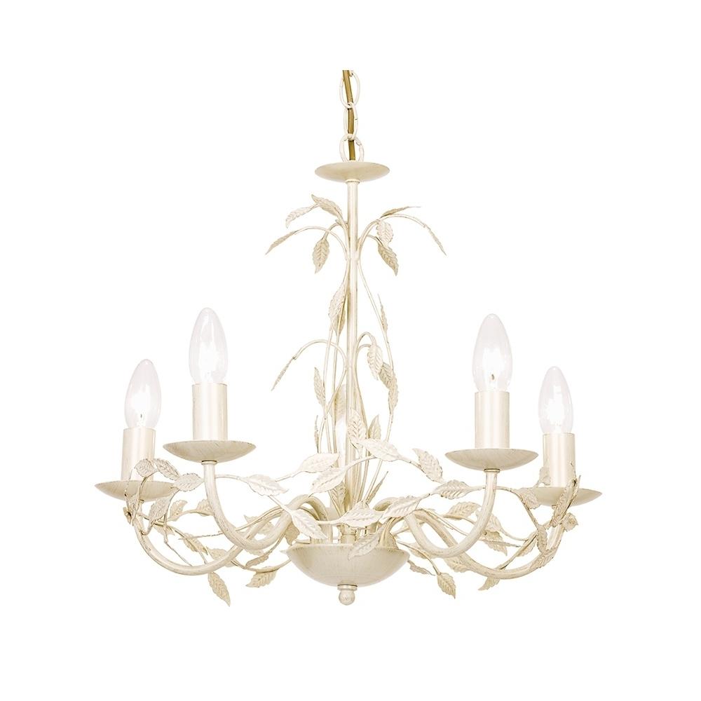 Cream Gold Chandelier Intended For Preferred Serenade 5Cr Elegant 5 Light Chandelier In Cream Gold – Lighting (View 3 of 20)