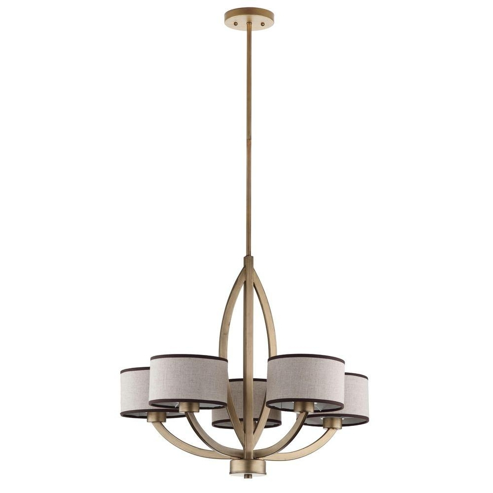 Cream Gold Chandelier With Favorite Safavieh Talia 5 Light Antique Gold Chandelier With Cream Shade (View 10 of 20)