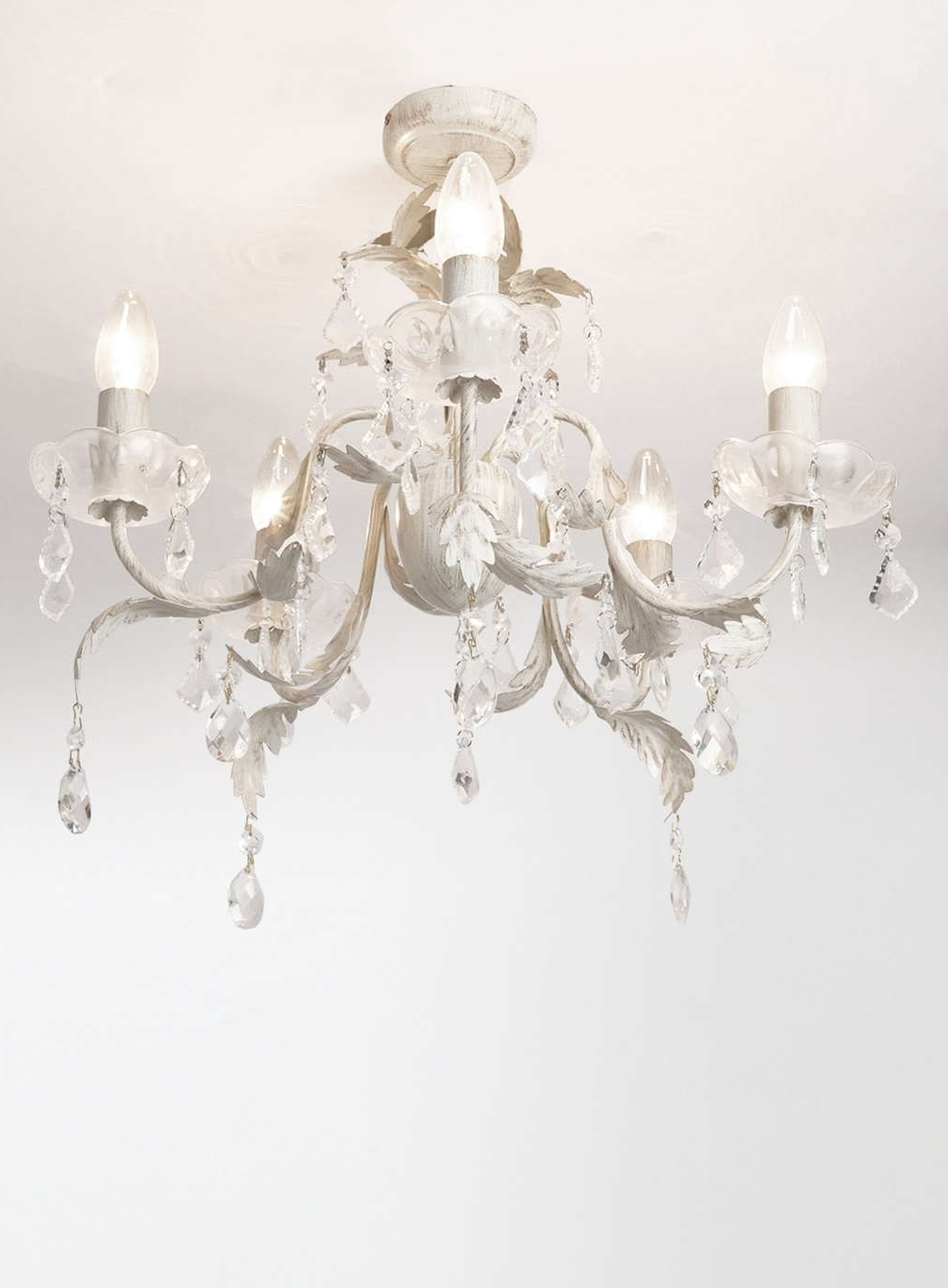 Cream Gold Chandelier Within Widely Used Juliette 5 Light Flush Fitting Chandelier – Flush Fitting – Ceiling (View 8 of 20)