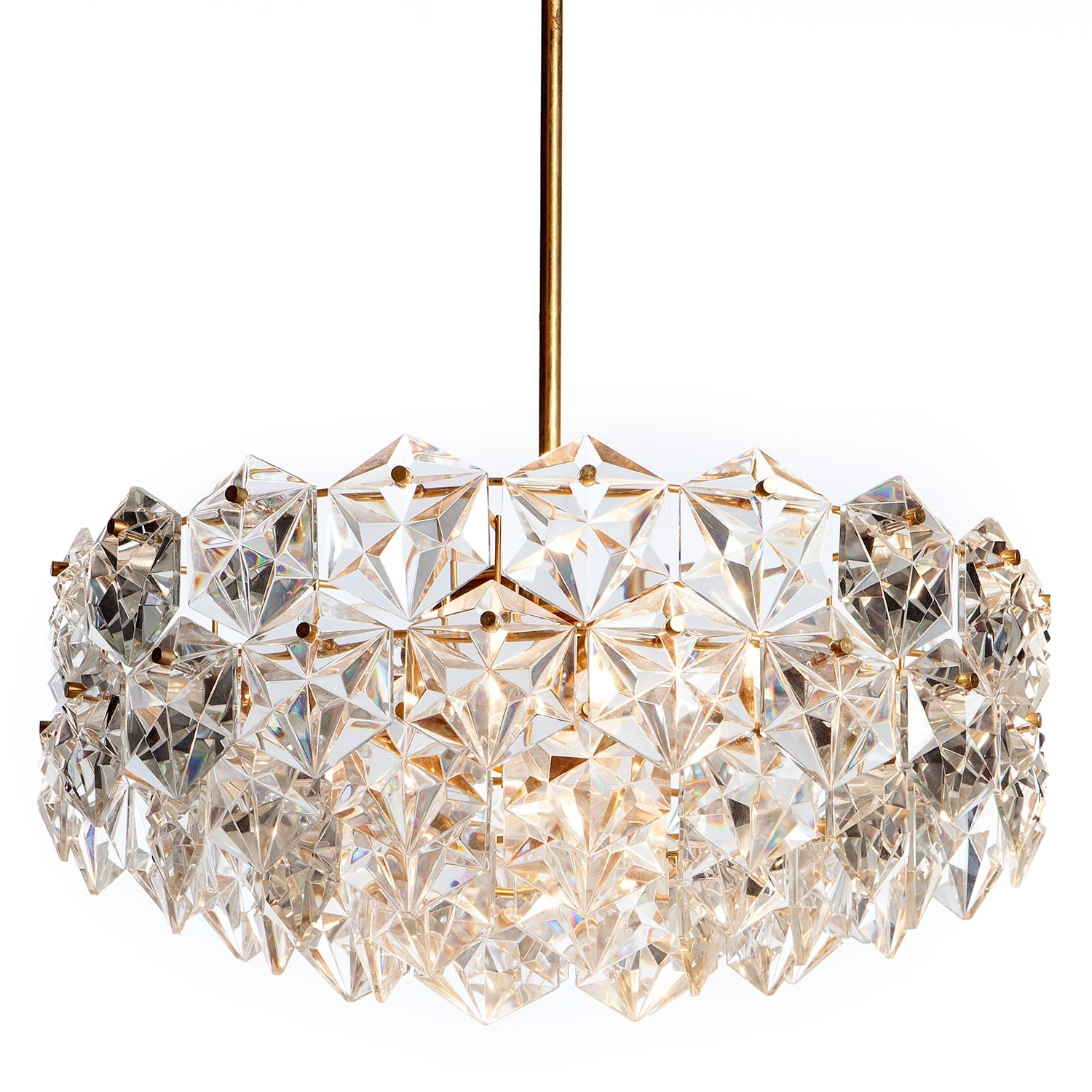 Crystal And Brass Chandelier In 2018 1960s Kinkeldey Seven Light Hexagonal Crystal Glass And Gilt Brass (View 14 of 20)