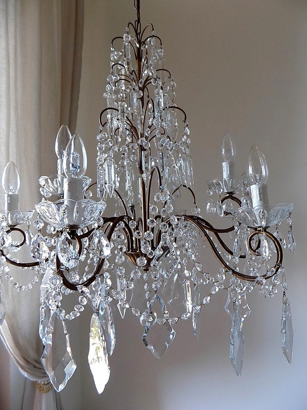 Crystal And Brass Chandelier In Popular Italian Vintage 9 Arms Chandelier With Rare Shaped Crystals (View 6 of 20)