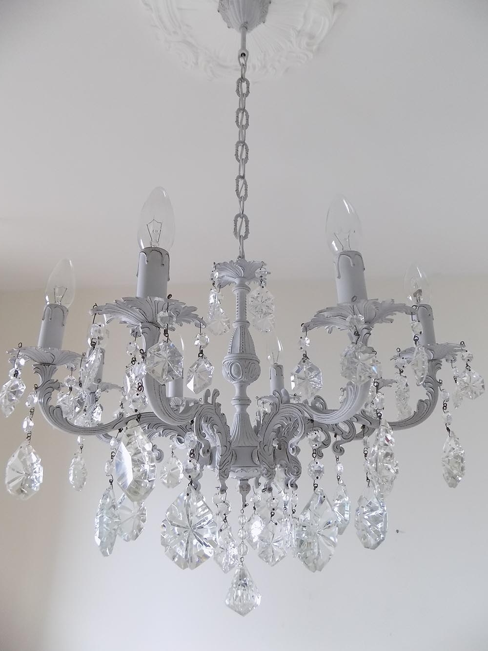 Crystal And Brass Chandelier With Regard To Fashionable Light Grey Italian Vintage Glass Crystal Chandelier – Lorella Dia (View 19 of 20)