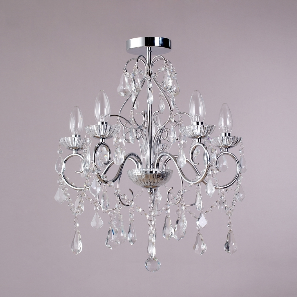 Crystal And Chrome Chandeliers With Most Recent Nice Bathroom Chandeliers Crystal Vara 5 Light Bathroom Chandelier (View 5 of 20)