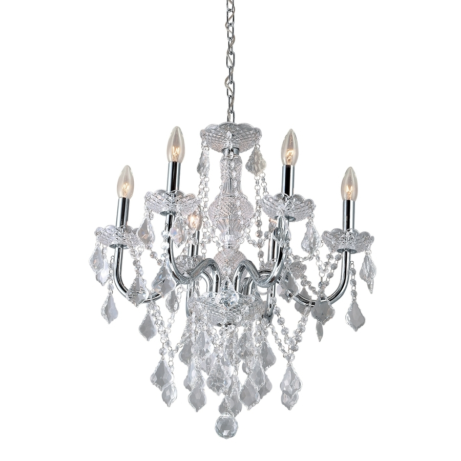 Crystal And Chrome Chandeliers Within Trendy Shop Portfolio (View 7 of 20)