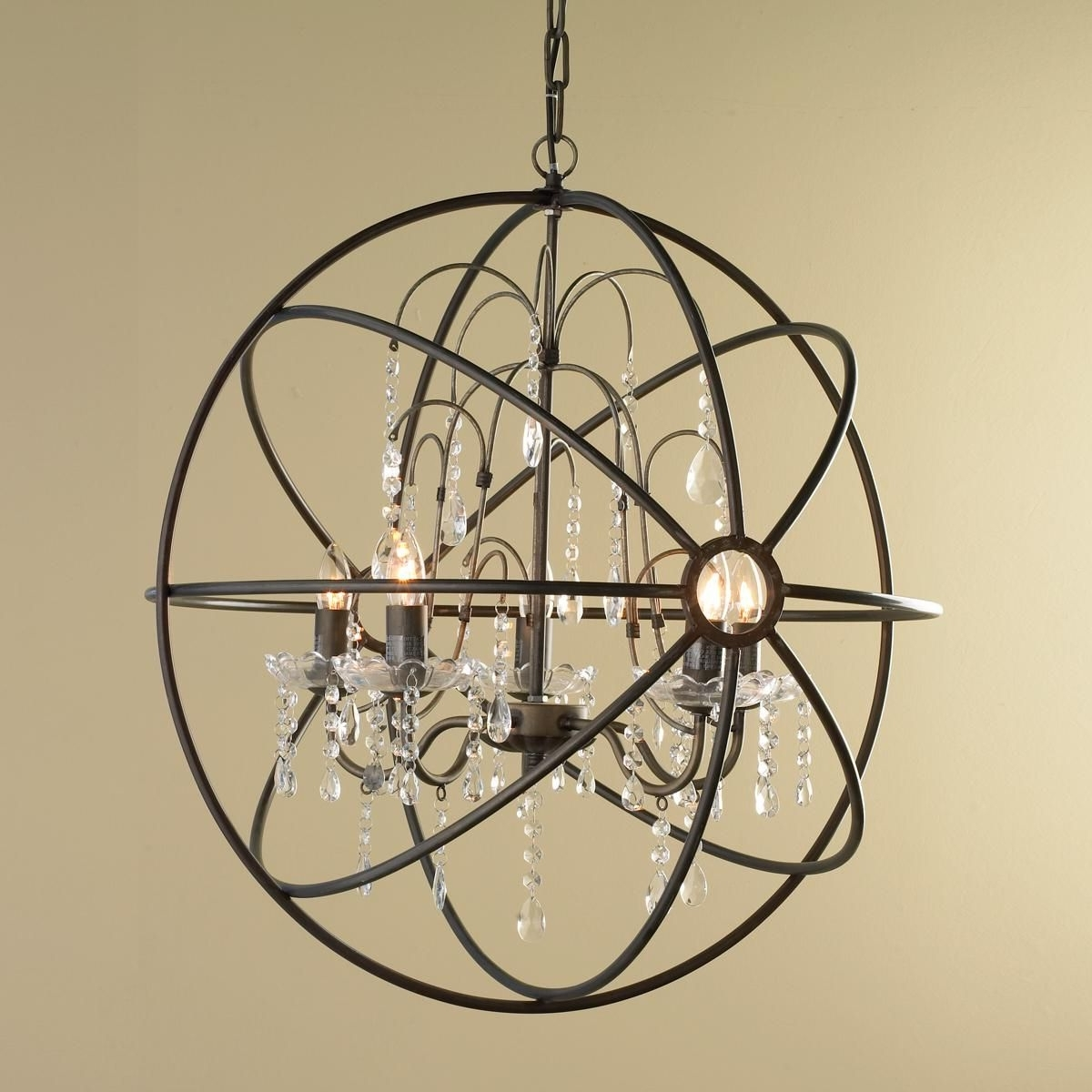 Crystal And Metal Orb Chandelier (View 7 of 20)