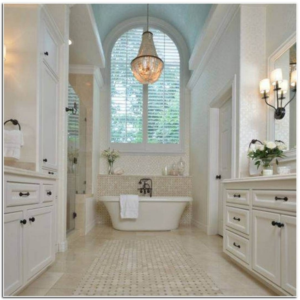 Crystal Bathroom Chandelier Regarding Famous Bedroom & Bathroom: Excellent Bathroom Chandeliers For Contemporary (View 5 of 20)