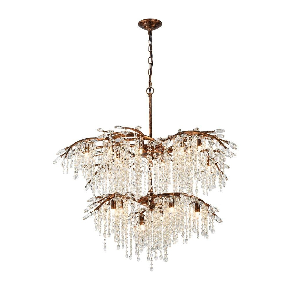 Crystal Branch Chandelier With Famous Titan Lighting Elia 18 Light Spanish Bronze Chandelier With Metal (View 6 of 20)