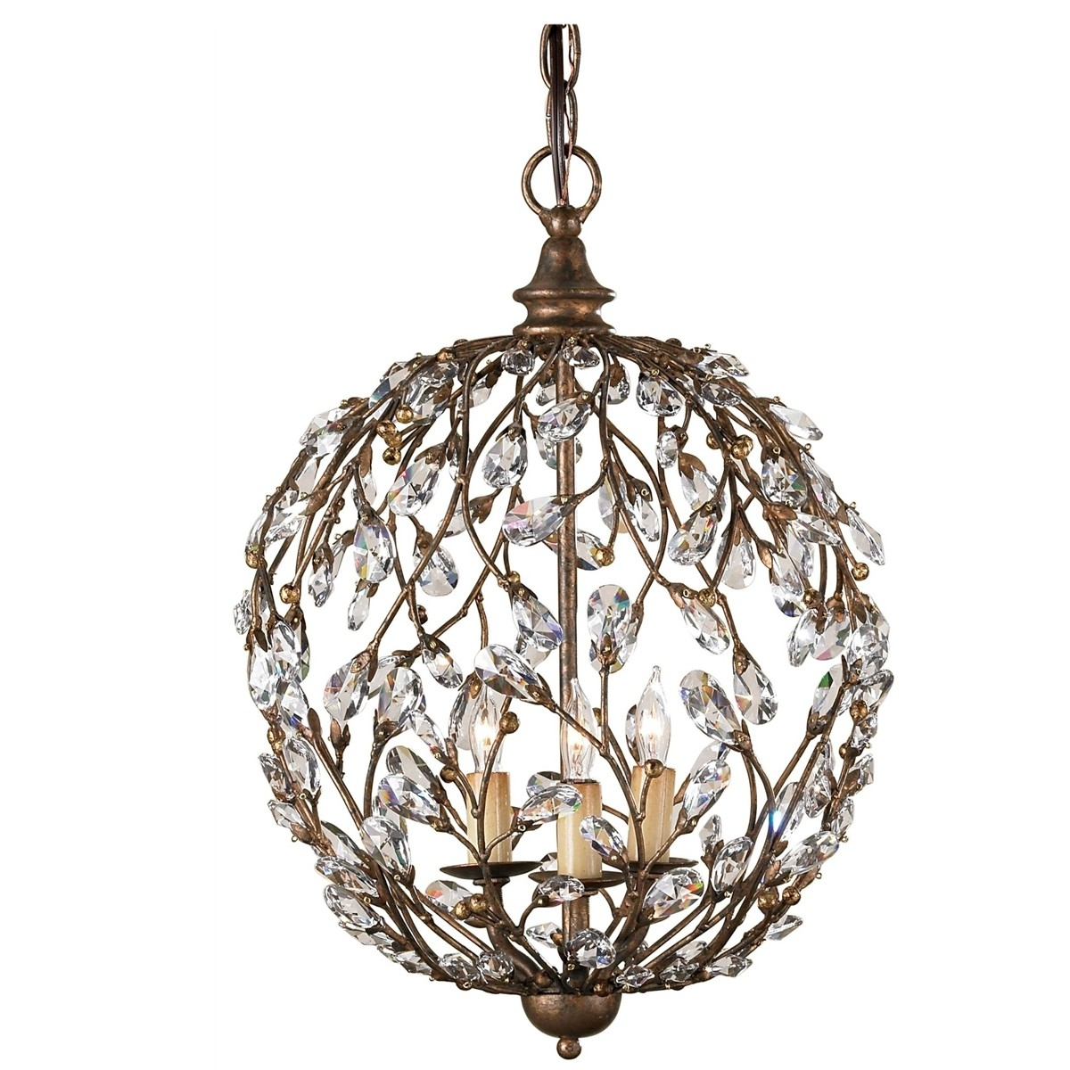 Crystal Bronzed Globe Chandelier Regarding Widely Used Crystal Globe Chandelier (View 19 of 20)