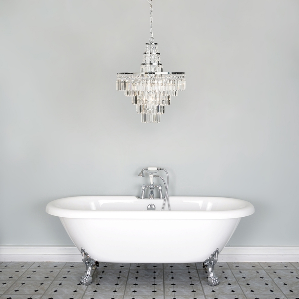 Crystal Chandelier Bathroom Lighting Throughout Most Current Attractive Chandelier Bathroom Lighting Vasca Crystal Bar Large (View 2 of 20)