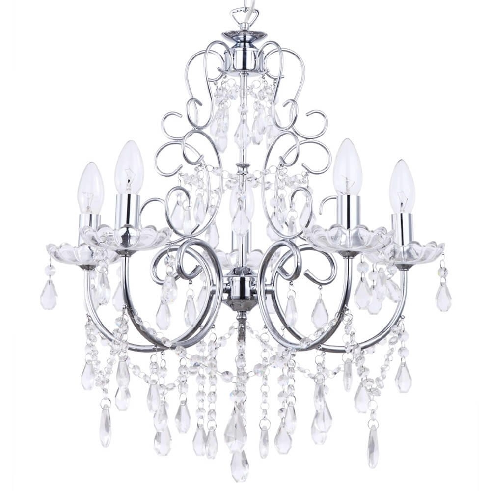 Crystal Chandelier Madonna 5 Light Dual Mount Chrome From Litecraft In Favorite Chrome Chandeliers (View 16 of 20)