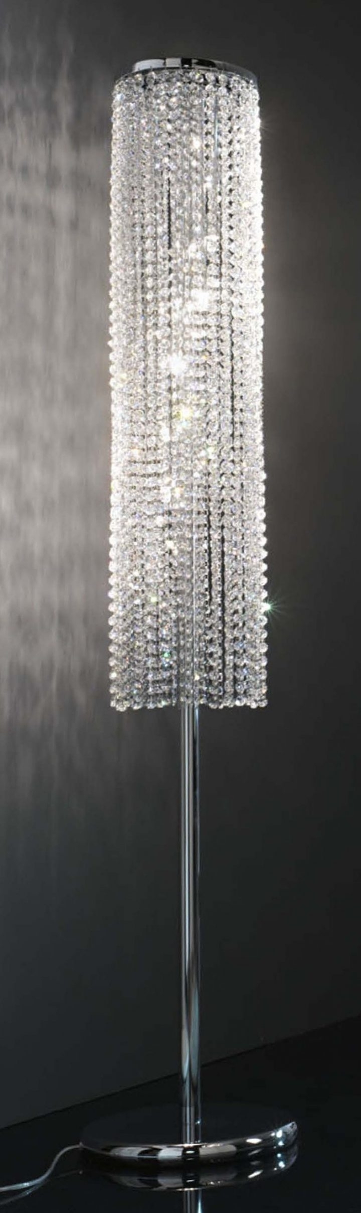 Crystal Chandelier Standing Lamps Intended For Latest Chandeliers Design : Magnificent Floor Lamp Crystal Chandelier Turn (View 7 of 20)