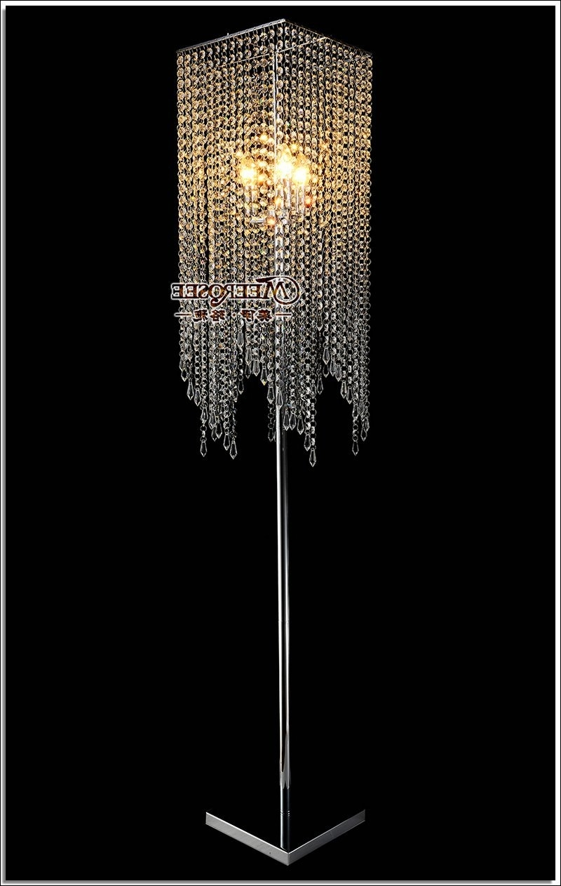 Crystal Chandelier Standing Lamps With Most Current Free Shipping Modern Popular Crystal Floor Lamp, Chrome Floor Stand (View 5 of 20)