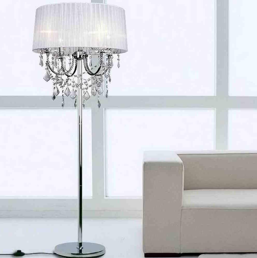 Crystal Chandelier Standing Lamps With Regard To Latest Decor Brilliant Crystal Chandelier Floor Lamp For Modern Living (View 12 of 20)