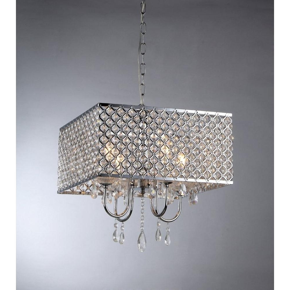 Crystal Chandeliers With Shades Throughout Well Known Warehouse Of Tiffany Zarah 4 Light Chrome Crystal Chandelier With (View 9 of 20)