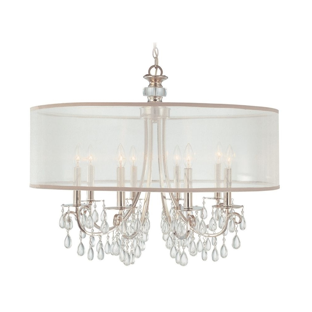 Crystal Chandeliers With Shades Within Preferred Crystal Chandelier With White Shade In Polished Chrome Finish (View 6 of 20)