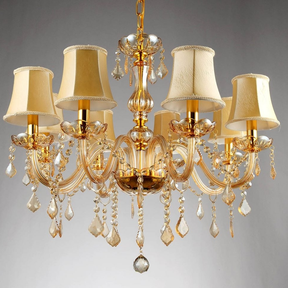 Crystal Gold Chandelier For Most Current Chandelier Lighting : Free Ship Arms Fashion Crystal Chandelier (View 13 of 20)