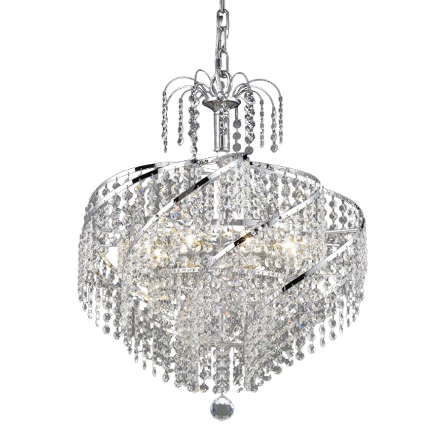 Crystal Waterfall Chandelier Pertaining To Most Recently Released Shop Elegant Lighting Spiral 18 In 8 Light Chrome Crystal Crystal (View 13 of 20)
