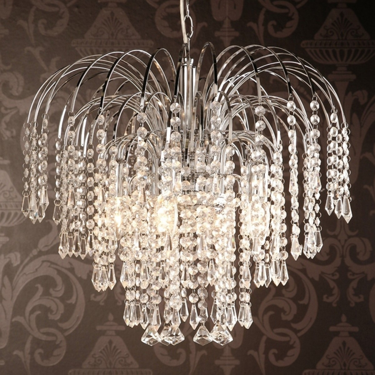 Crystal Waterfall Chandelier With Regard To Best And Newest Four Light Chrome Crystal Chandelier (View 6 of 20)