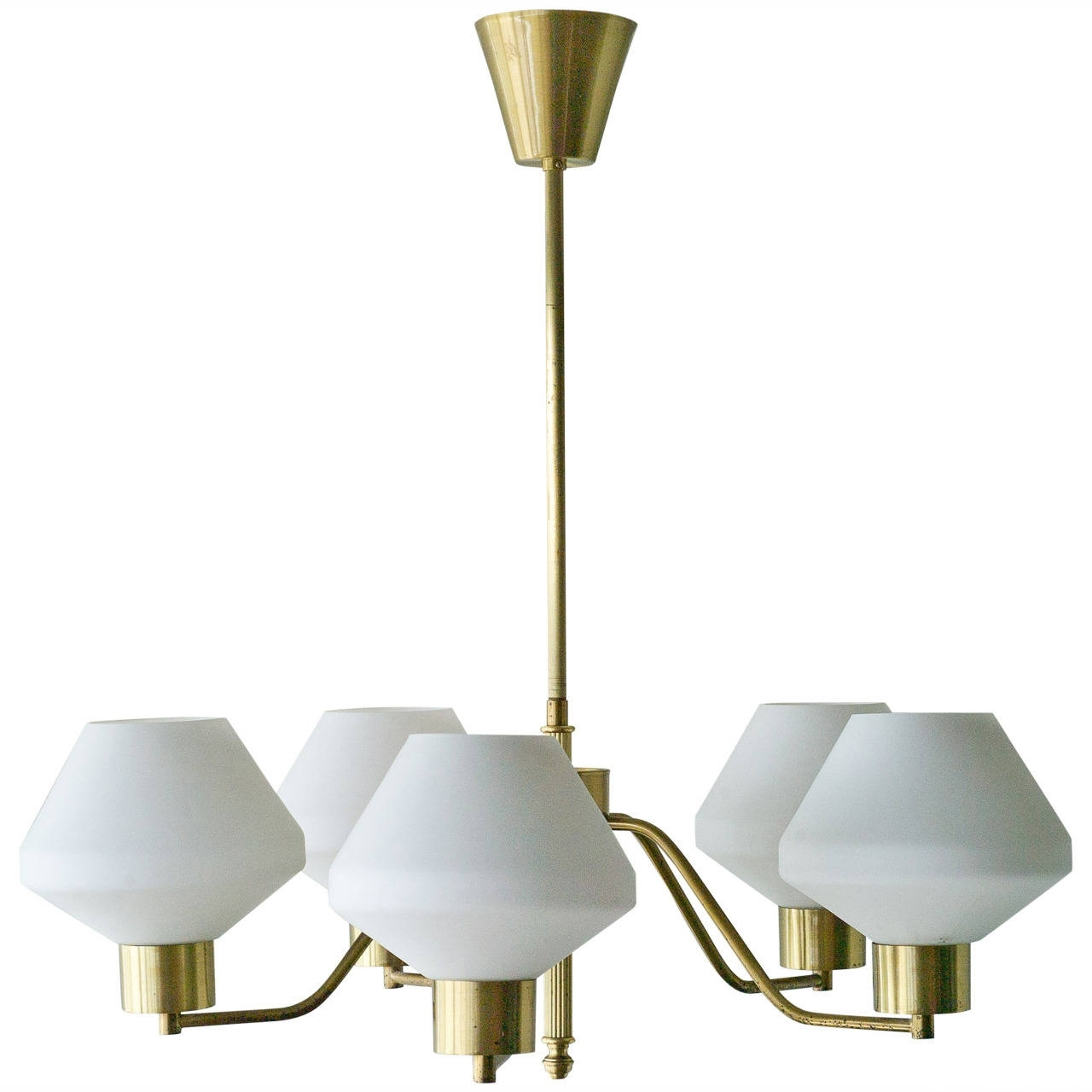 Current 1950S Scandinavian Chandelier In Brass And Frosted Glass Throughout Scandinavian Chandeliers (Gallery 5 of 20)