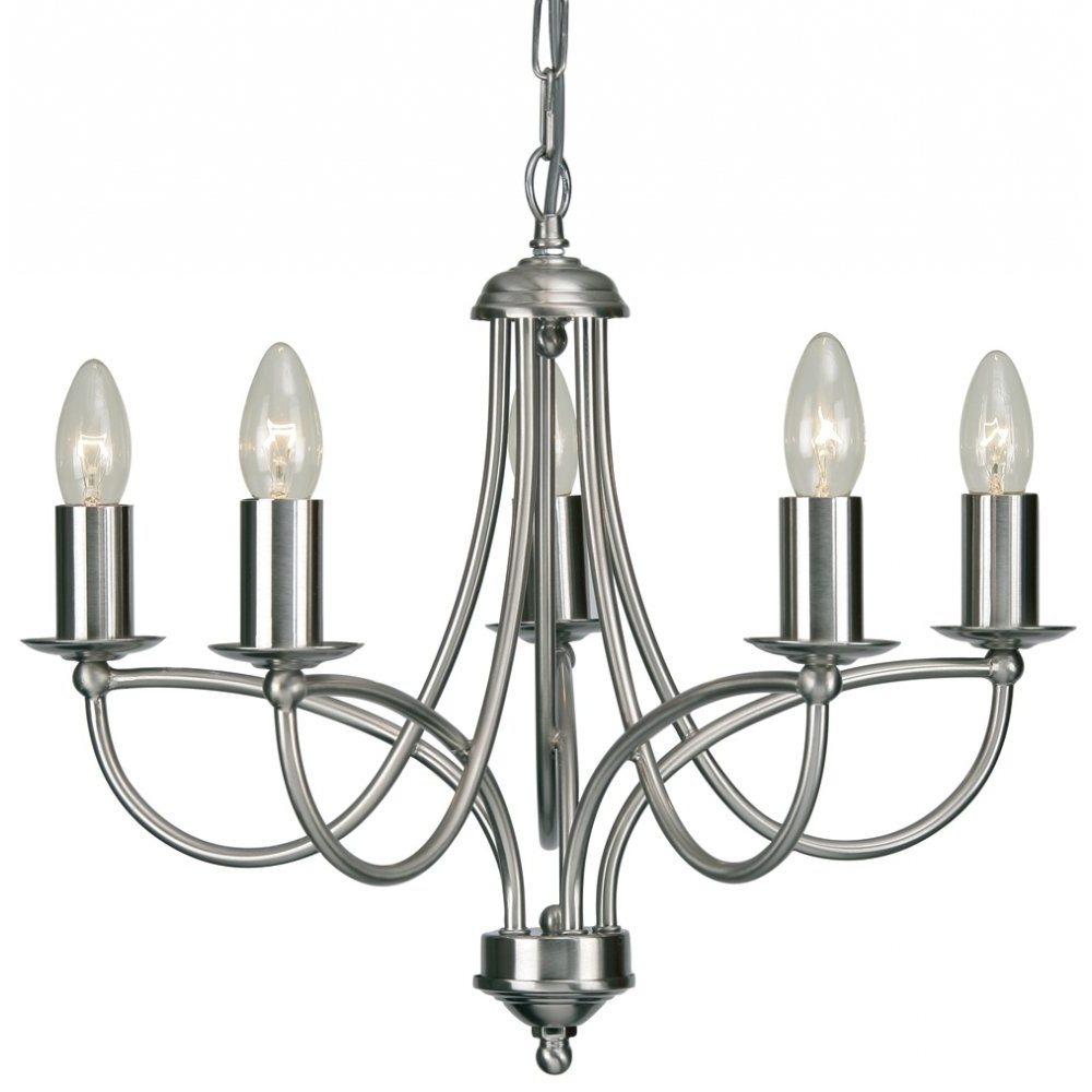 Current 2711/5Ac Loop 5 Light Chandelier In Antique Chrome Inside Chrome Chandeliers (View 11 of 20)