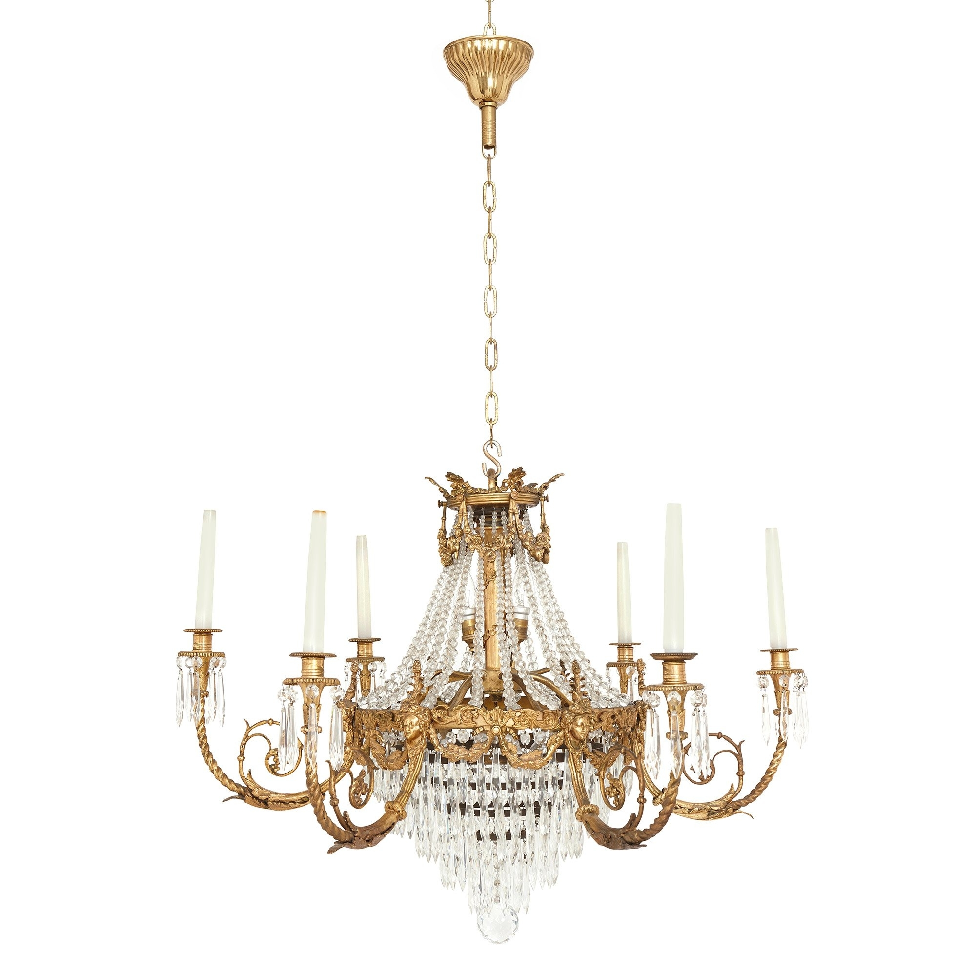 Current Antique French Gilt Bronze And Cut Glass Chandelier In The Empire In French Style Chandelier (View 4 of 20)