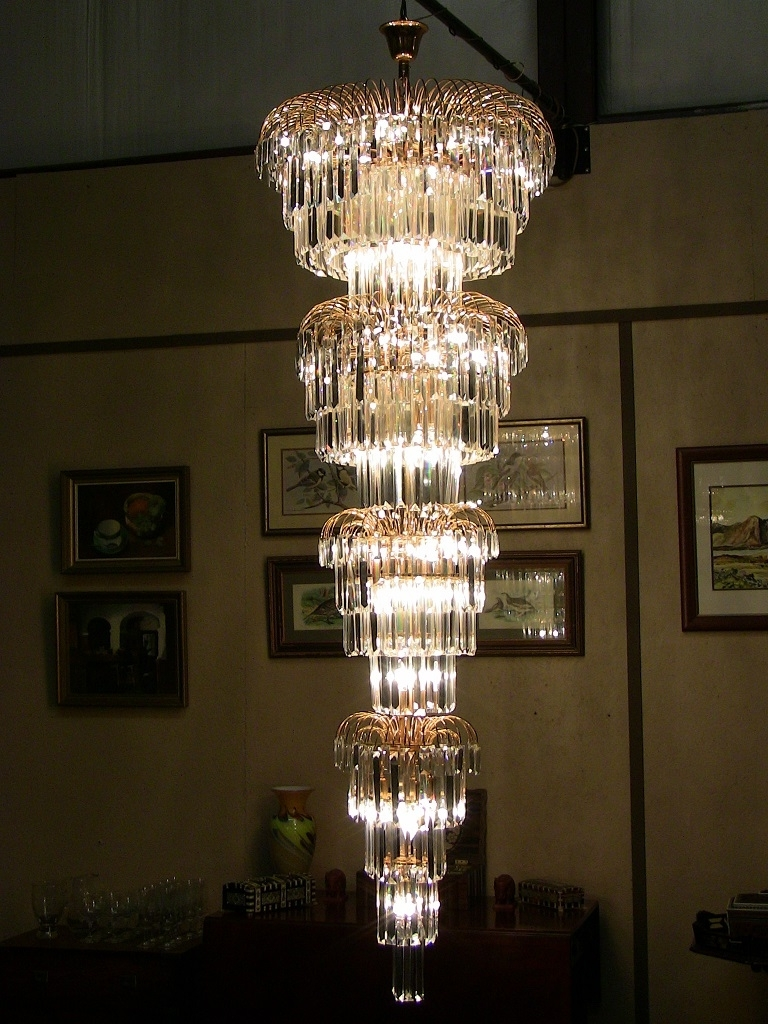 Current Art Deco Style Multi Layered Swarofski Crystal Chandelier Extra Pertaining To Large Art Deco Chandelier (View 8 of 20)