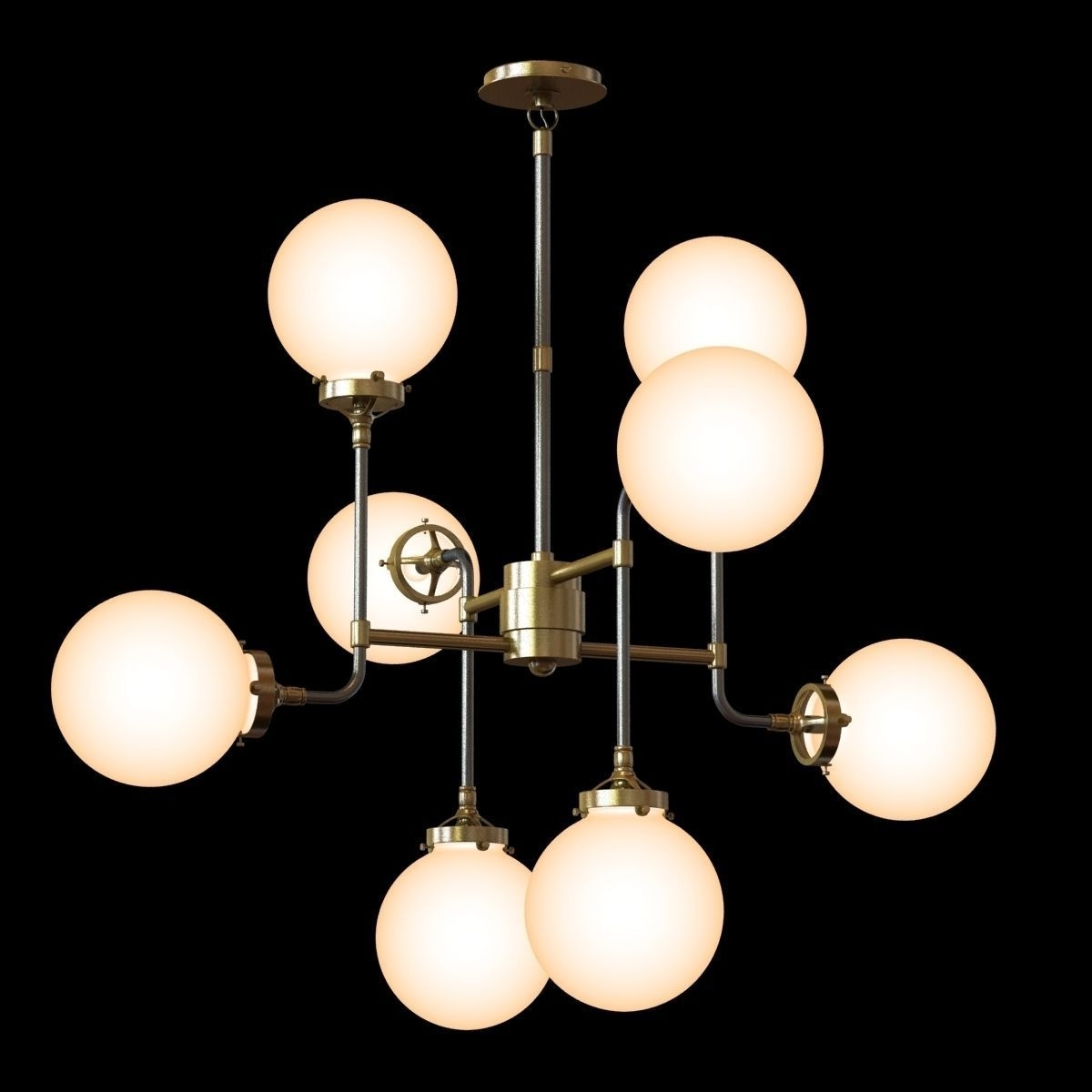 Current Chandelier Globe With Restoration Hardware Bistro Globe Milk Glass 8 Light Chandelier 3D (View 9 of 20)