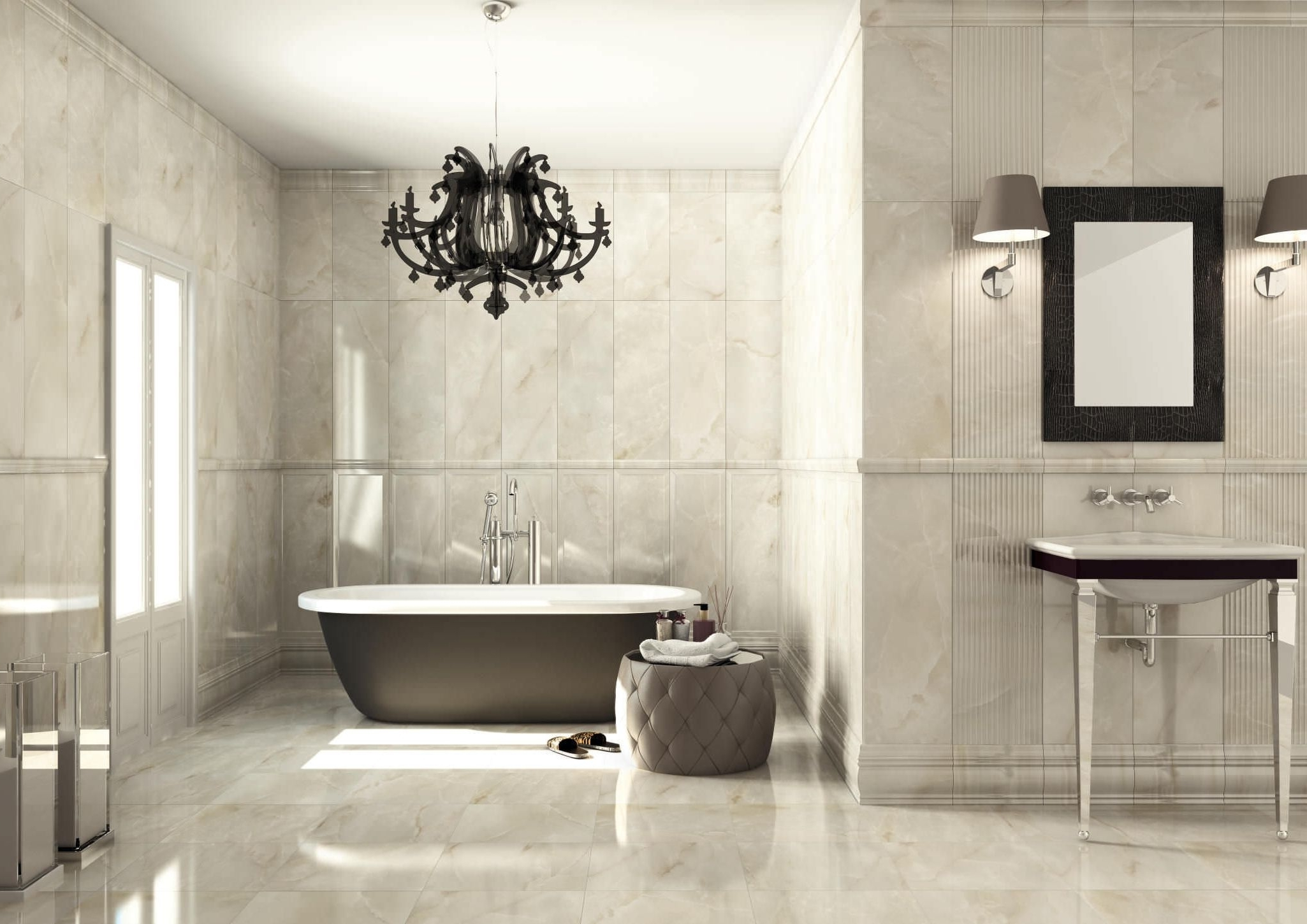 Current Chandeliers For Bathrooms Intended For Light : Amazing Gray Marble Bathroom Wall With Nice Chandelier (View 7 of 20)
