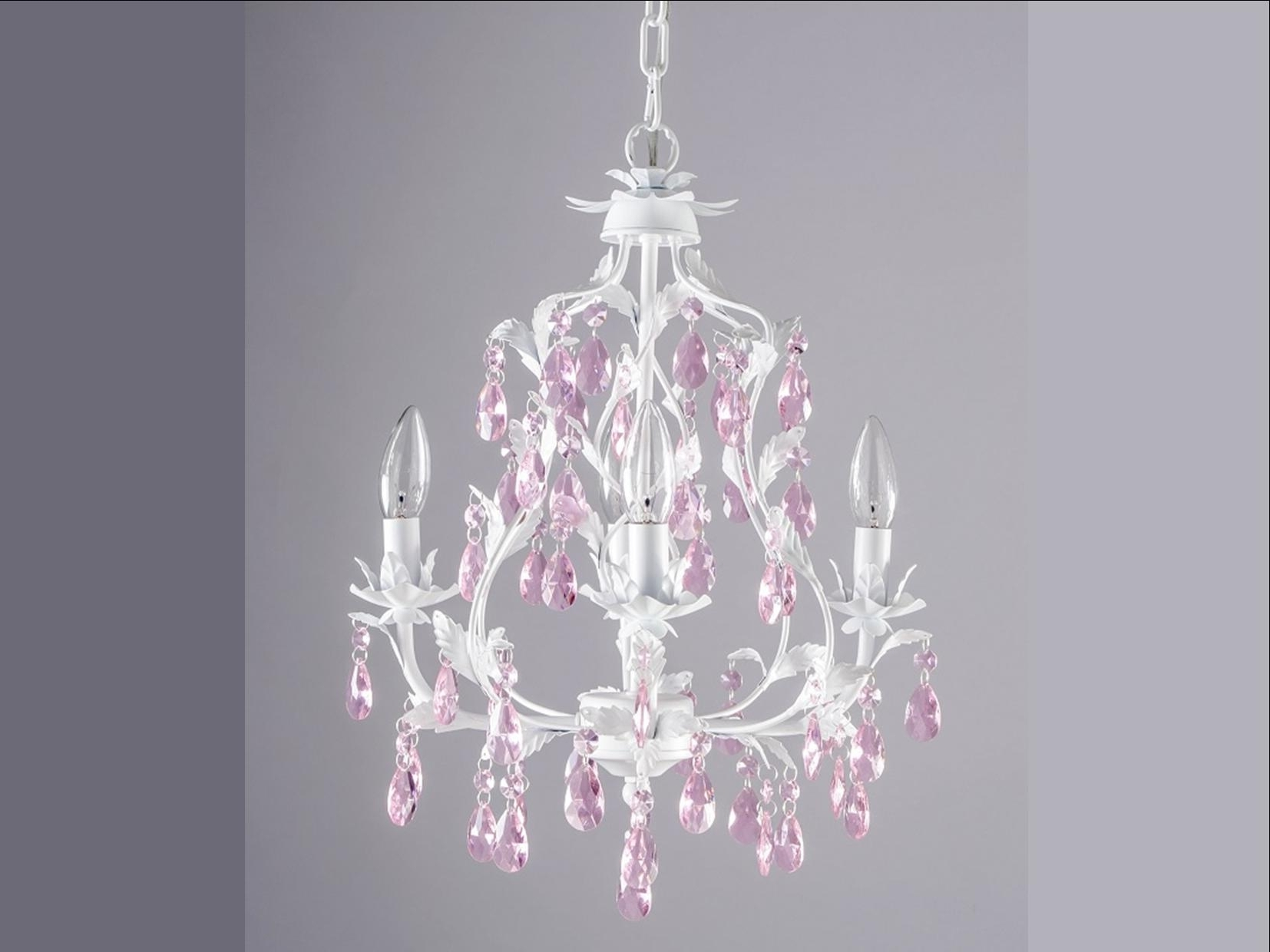Current Childrens Pendant Lamp Shades Plug In Chandeliers For Kids Pink Throughout Fuschia Chandelier (View 2 of 20)