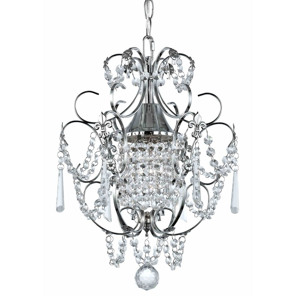 Current Chrome And Crystal Chandeliers Within Crystal Mini Chandelier Pendant Light In Chrome Finish (View 19 of 20)
