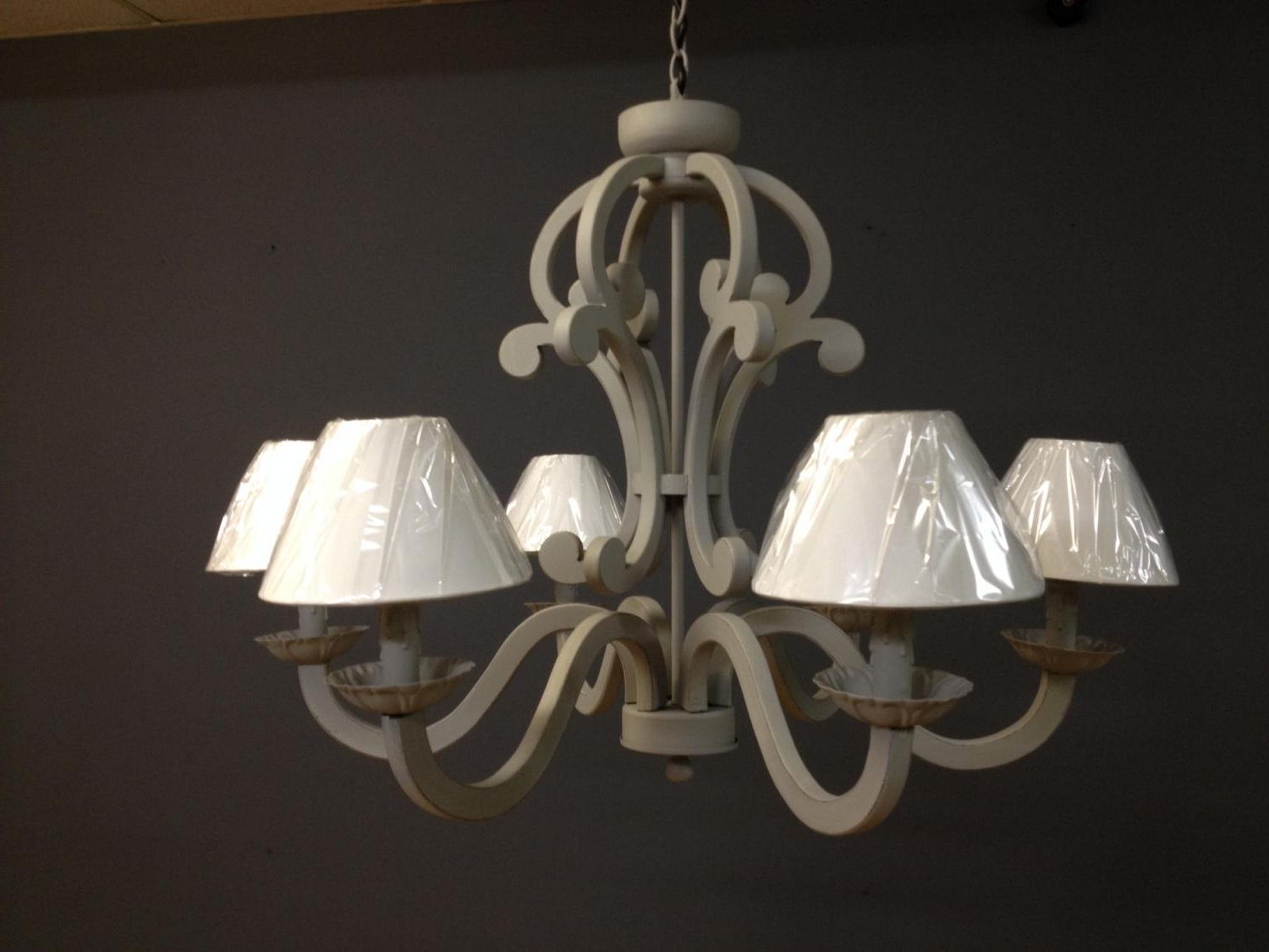 Current Distressed Wooden Grey Chandelier In Chandeliers Pertaining To Grey Chandeliers (View 4 of 20)