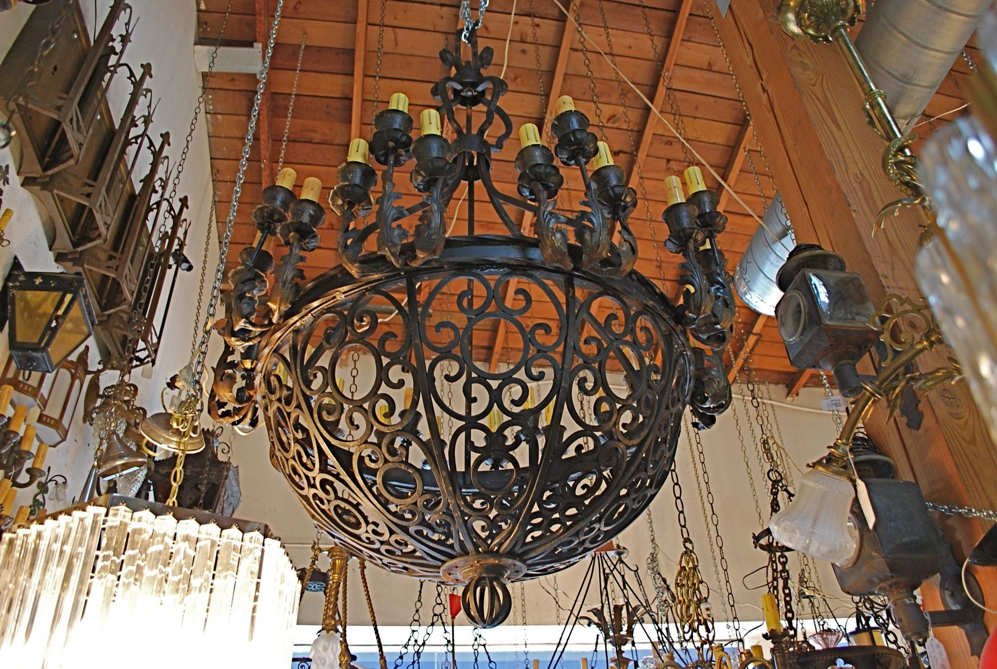 Current Exceptional And Very Rare Imposing 1920 Wrought Iron Chandelier At For Large Iron Chandelier (View 3 of 20)