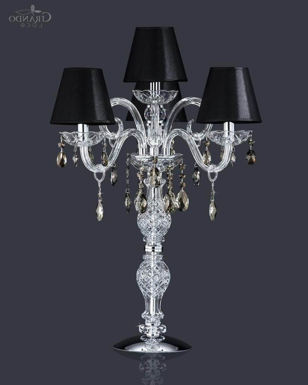 Current Faux Crystal Chandelier Table Lamps With Lighting: Modern Crystal Column Table Lamp Featuring Grey Fabric (View 2 of 20)