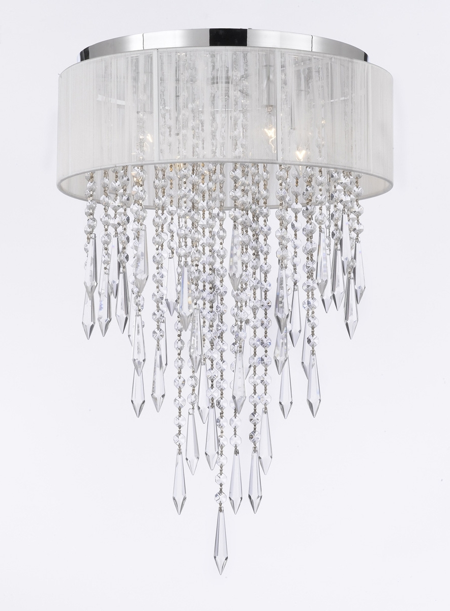 Current G7 B27/b12/white/2130/4 Gallery Chandeliers Flushmount 4 Light With 4 Light Chrome Crystal Chandeliers (View 6 of 20)