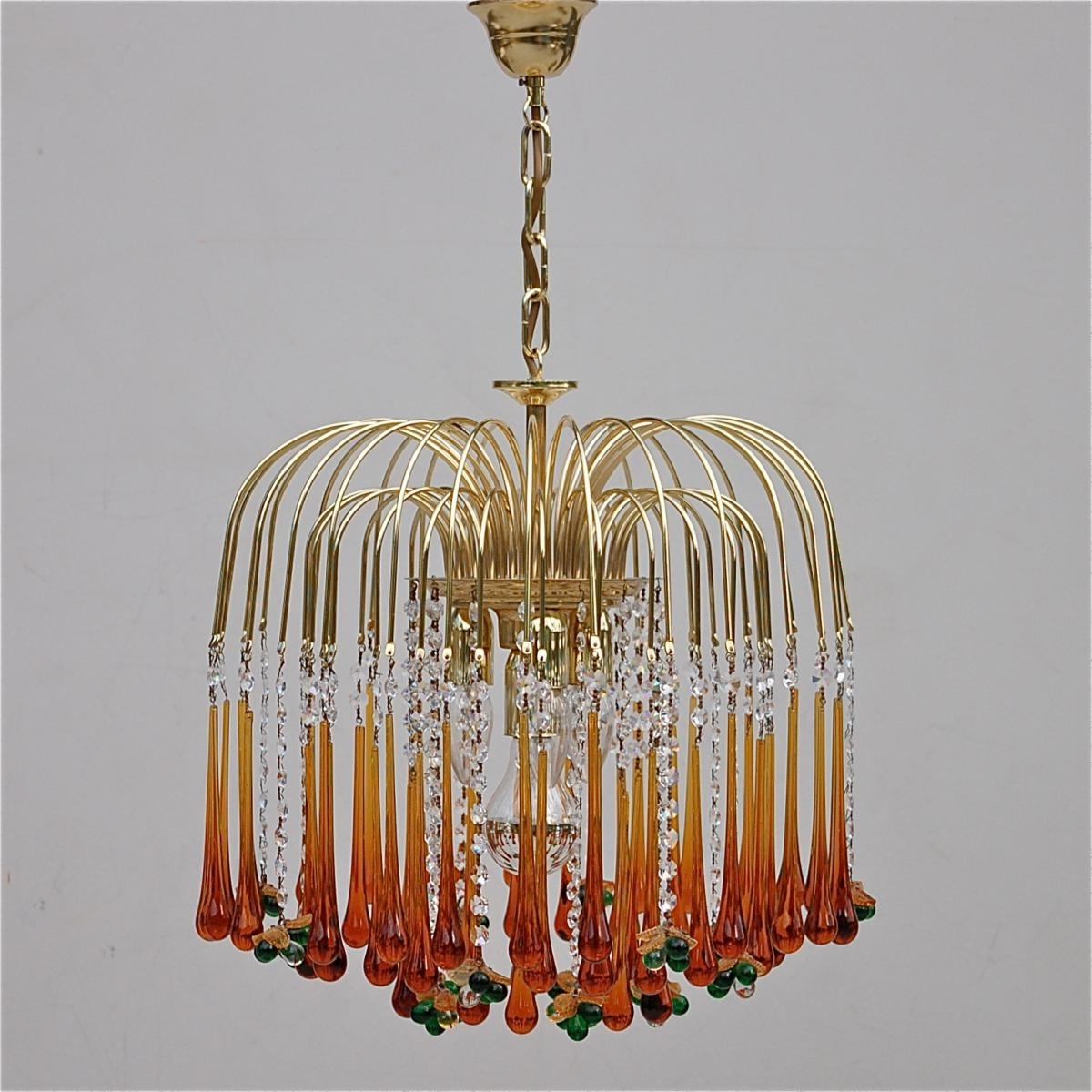 Current Glass Chandelier Intended For Vintage Teardrop And Fruit Murano Glass Chandelier For Sale At Pamono (View 3 of 20)