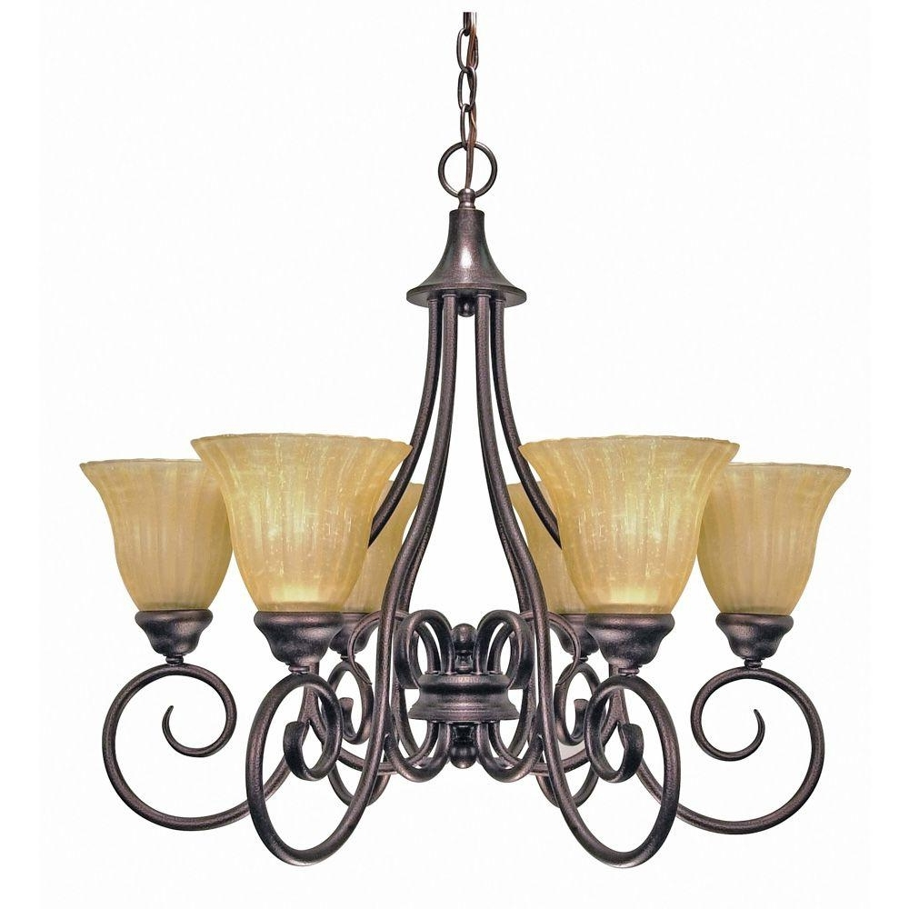 Current Glomar 6 Light Copper Bronze Chandelier With Champagne Linen Washed With Regard To Linen Chandeliers (View 8 of 20)