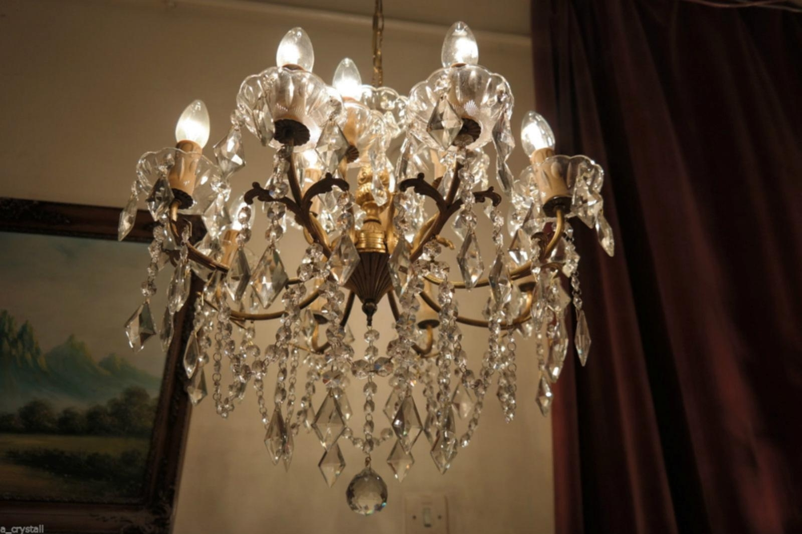 Current Huge Crystal Chandelier Throughout Huge Crystal Chandelier Antique Vintage French Huge 8 Arms Crystal (View 20 of 20)