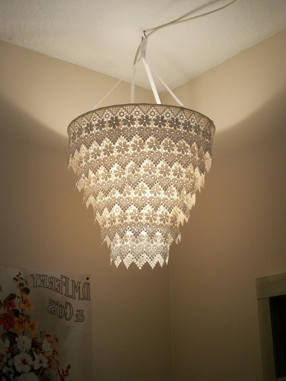 Current Lampshade Chandeliers Regarding Venise Lace Faux Chandelier Pendant Lamp Shade 'ivory' (View 2 of 20)
