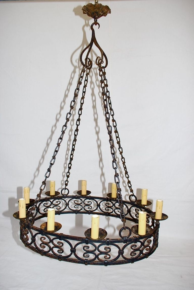 Current Large Iron Chandelier Pertaining To Antique French Wrought Iron Chandelier At 1Stdibs (View 4 of 20)
