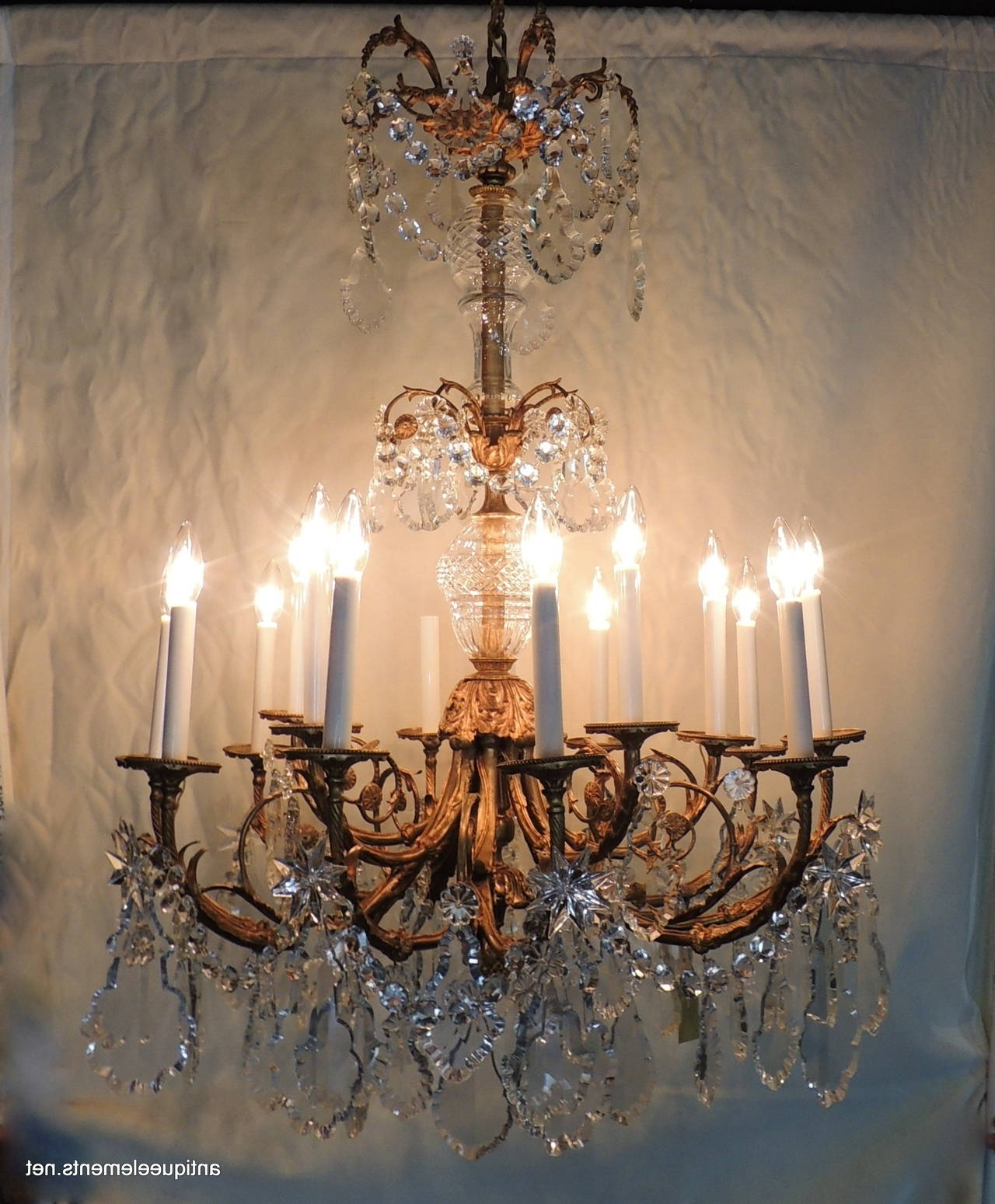 Current Late 19Th Century Rococo Doré Bronze And Crystal Large Fifteen Light In Bronze And Crystal Chandeliers (View 9 of 20)