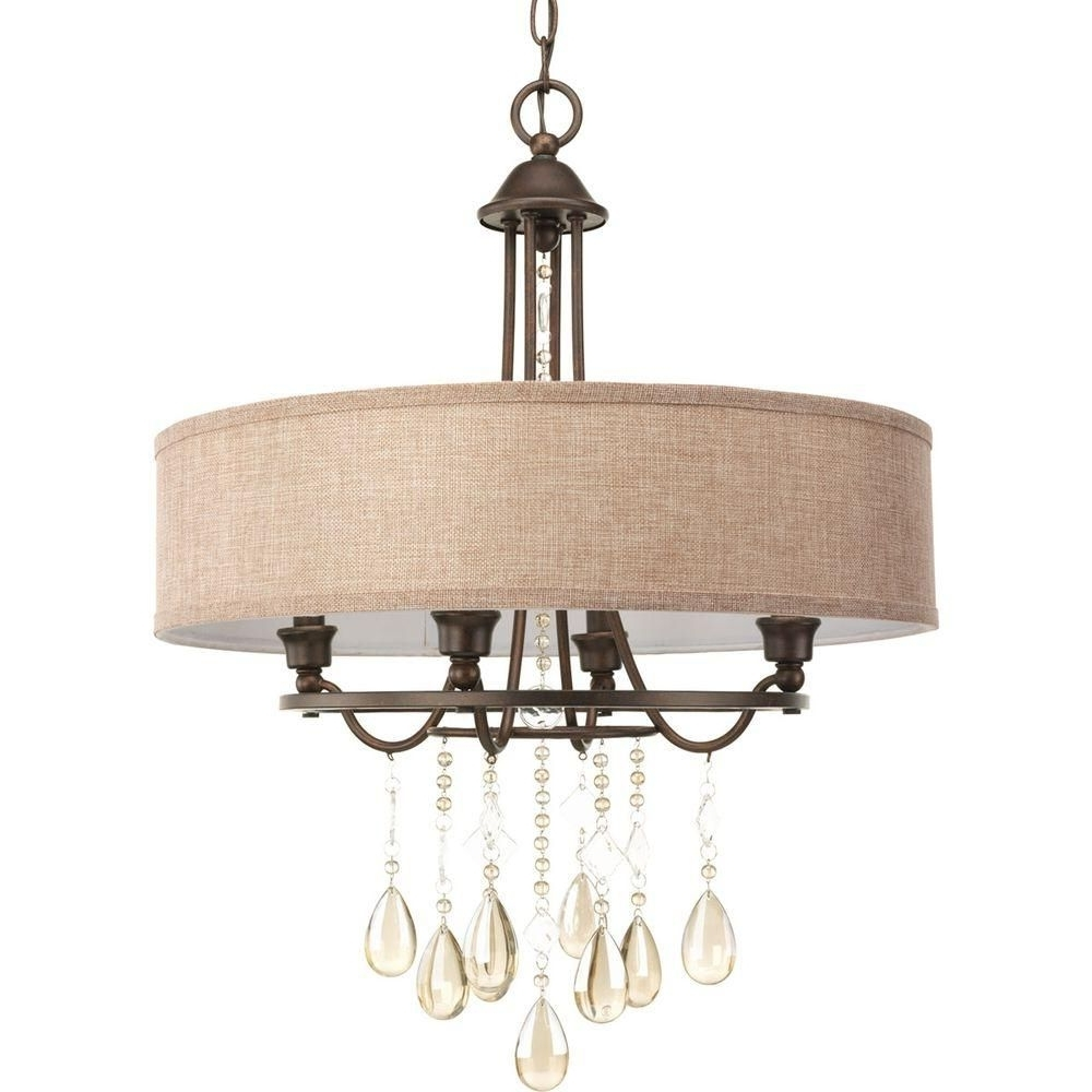 Current Linen Chandeliers Pertaining To Progress Lighting Flourish Collection 4 Light Cognac Bronze (View 3 of 20)